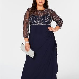 Betsy & Adam Beaded Ruched Gown Navy/Silver